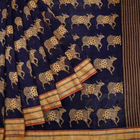 Chanderi Silk Navy Blue Saree With Cow Pattern