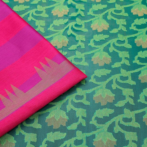 Green  Organza Silk Jamdani Weave Saree