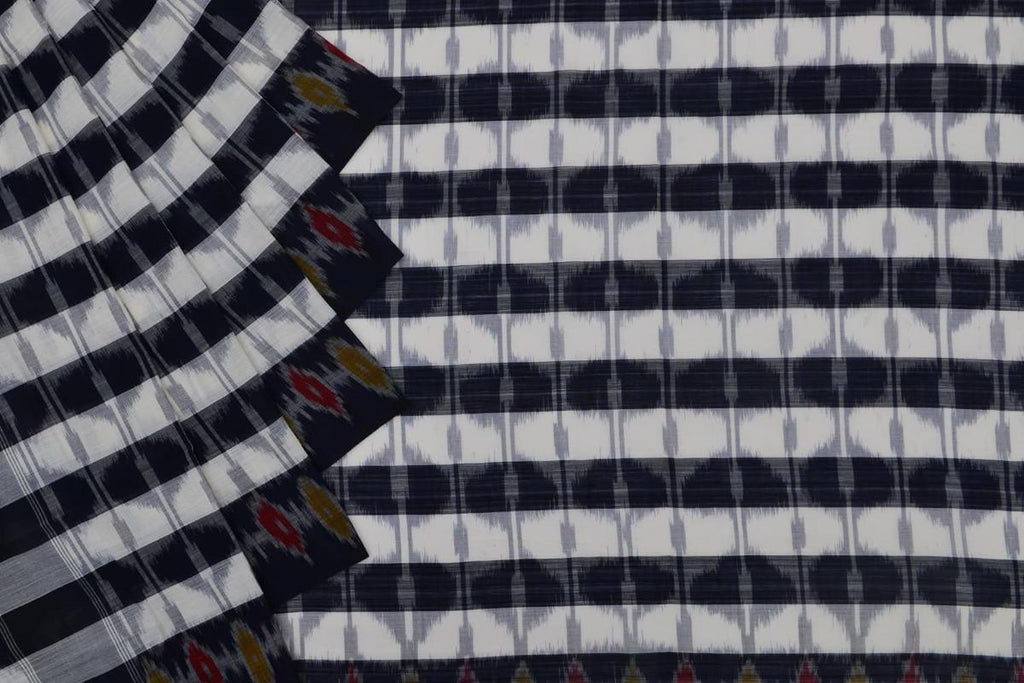 black and white Andhra cotton Saree with checks