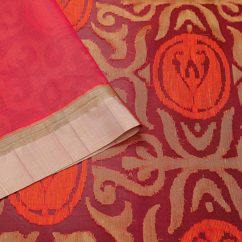 Purple And Orange Red Organza Silk Jamdani Weave Saree