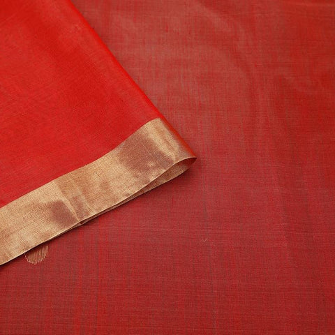 chanderi cotton silk red Handloom Saree