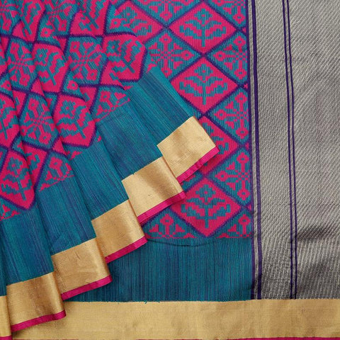 Emrald Green Blue And Magenta Pink Organza Silk Jamdani Work Saree