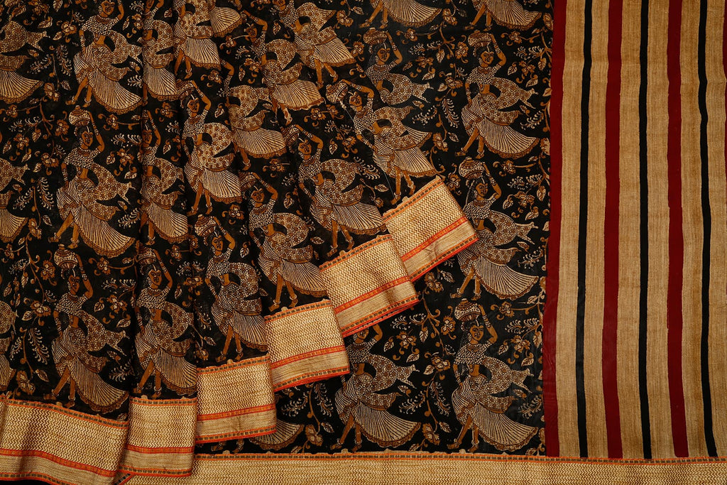 Chanderi Silk Black Saree With Dancing Doll Pattern