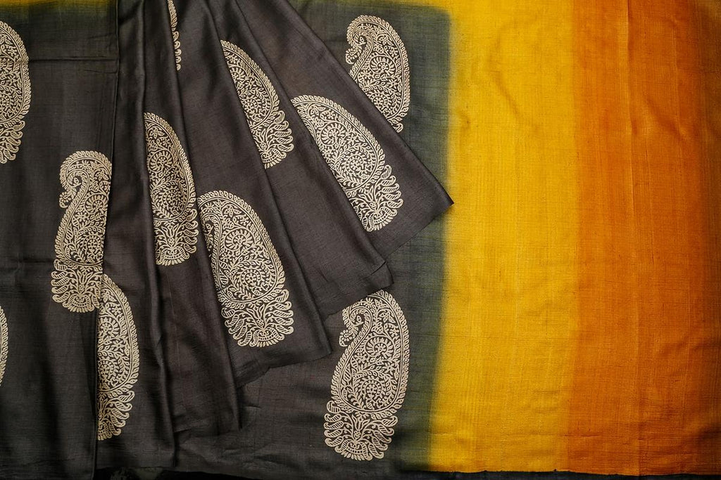 Black Orange And Turmeric Tussar Silk Parsi Work Saree