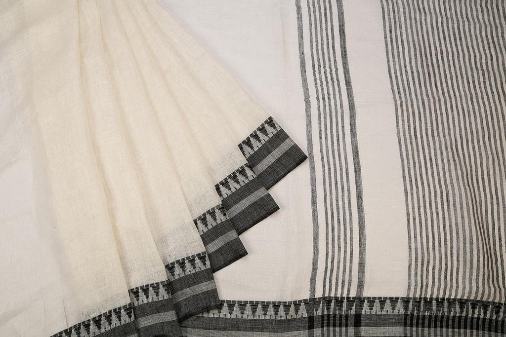 White Handloom Tussar Silk Handwoven Saree With  Border