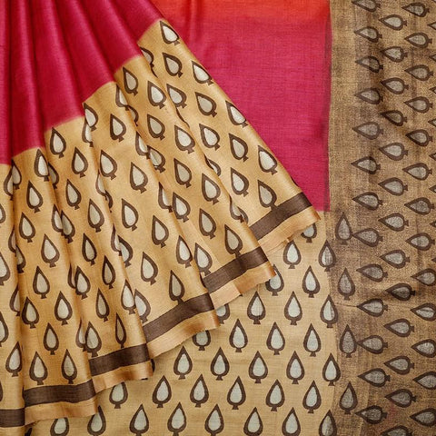Orange Purple And Beige Tussar Silk Parsi Work Saree