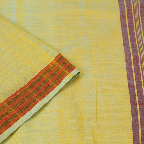 Assam Cotton Saree In Lemon Yellow