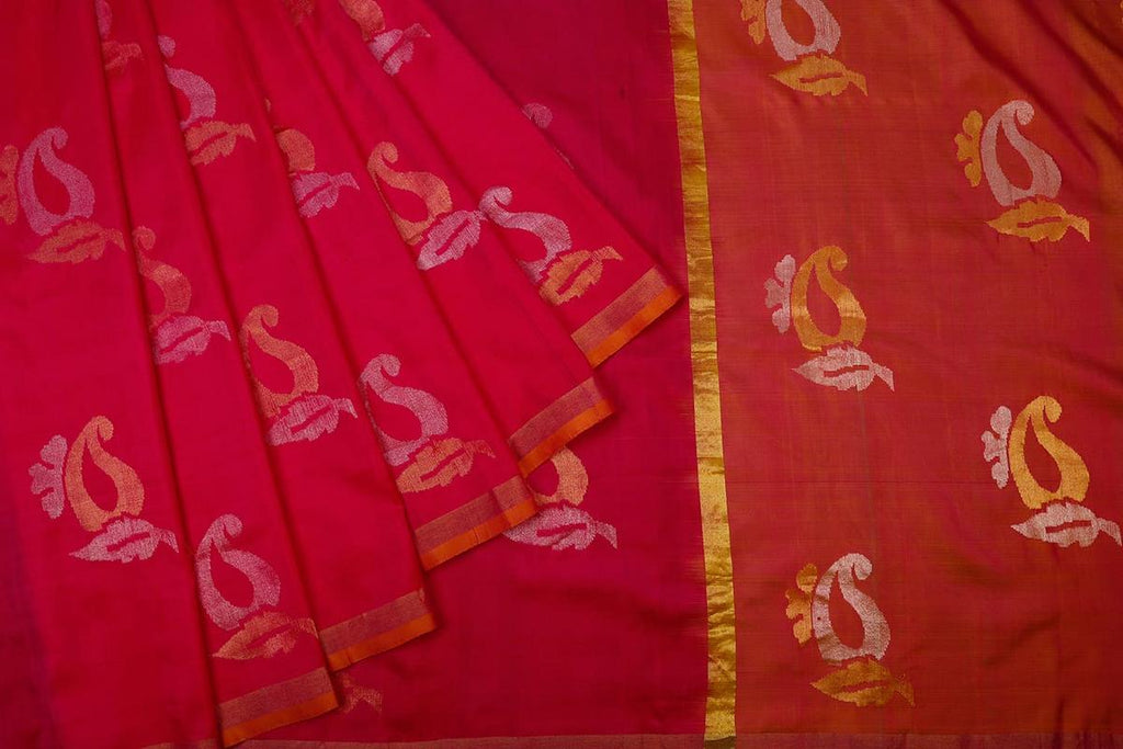 Watermelon Pink Handloom Silk Handwoven Saree With  Border