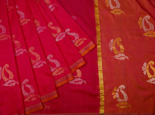 watermelon pink-saree-CBESAR0054