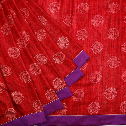 Ghicha Mix and Match Red Saree