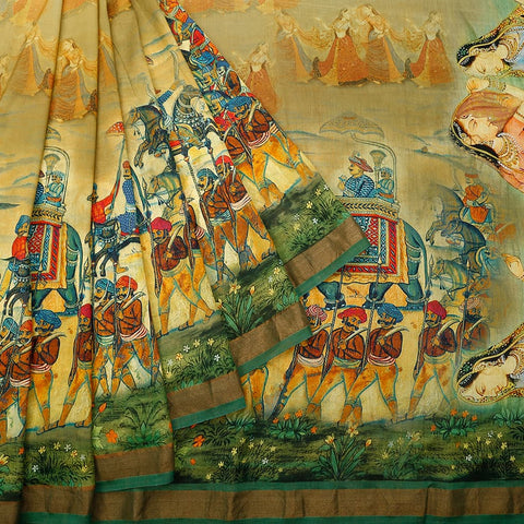 Chanderi Silk Multicolored Saree With King'S Palanquin Pattern
