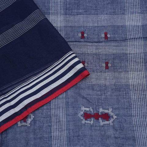 Bengal Khadi Cotton  Indigo Blue Saree With Jamdani Stripes