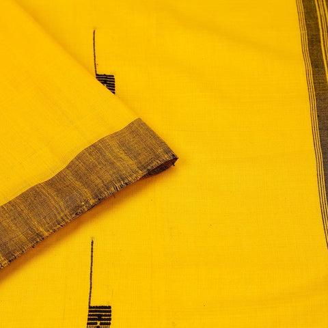 Assam Cotton Saree In Sunflower Yellow With Black Tripes Pallu