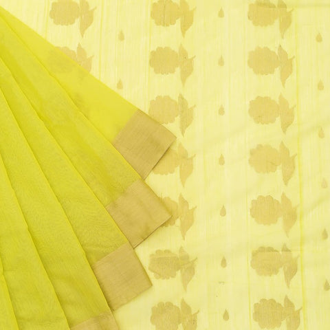 Chanderi Silk Cotton lemon green saree with leaf pattern