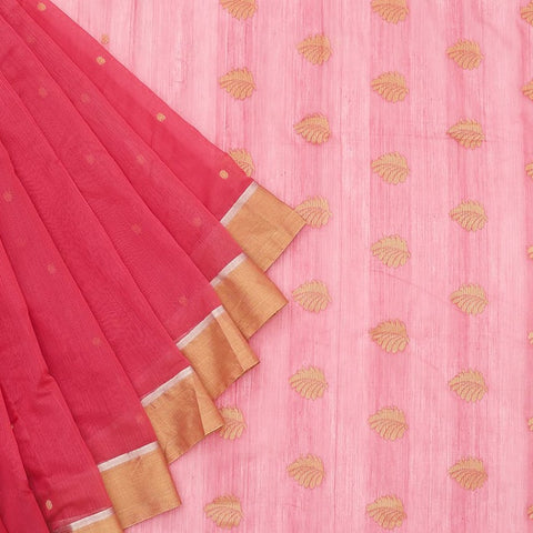 Chanderi Silk Cotton pink saree with floral pattern