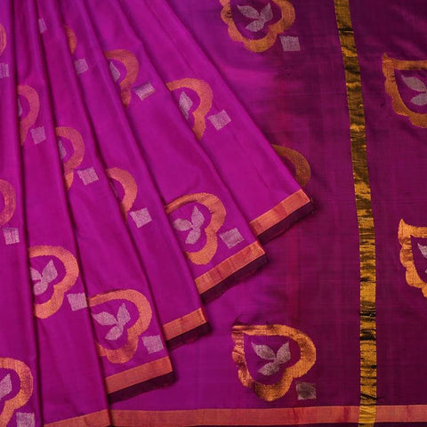 Purple Handloom Silk Handwoven Saree With  Border