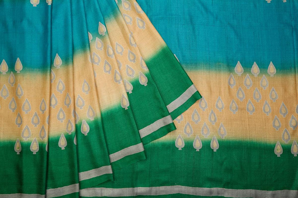 Bottle Green And Beige Tussar Silk Jamdani Weave Saree