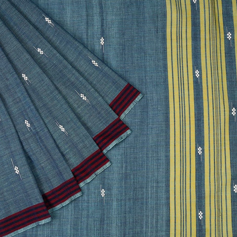Assam Cotton Saree In Stone Blue