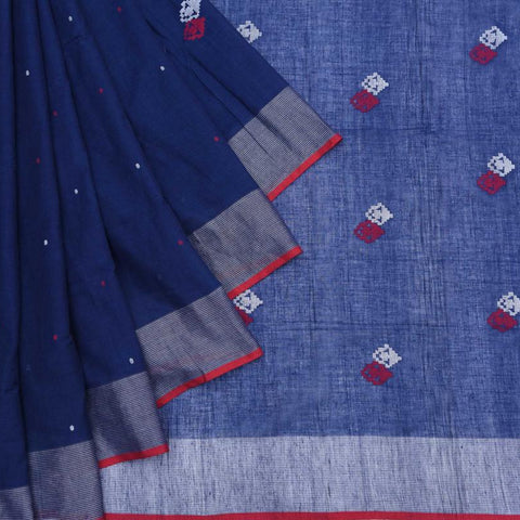 Bengal Khadi Cotton  Indigo Blue Saree With Jamdani Red And White Butti