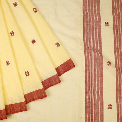 Assam Cotton Saree In Cream