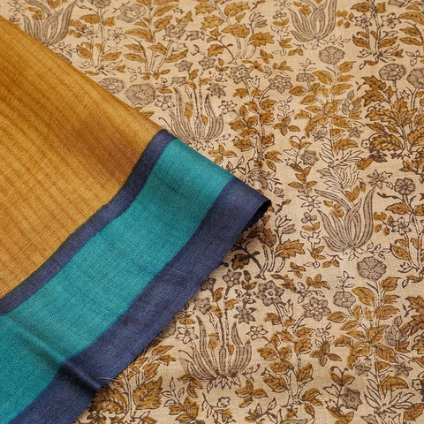 Light Saddle Brown Tussar Silk Parsi Work Saree