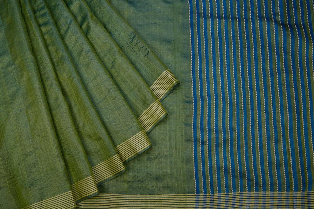 Stone Green Handloom Tussar Silk Handwoven Saree With  Border