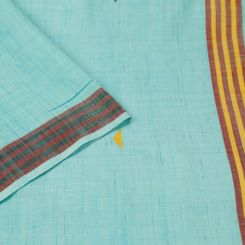 Assam Cotton Saree In Sky Blue With Multicolored Stripes And Pyramid Design Pallu