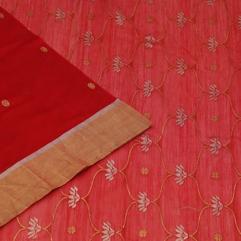 Chanderi Silk Cotton red saree with golden coin pattern