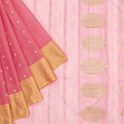 Chanderi Silk Cotton baby pink  saree with golden butti pattern