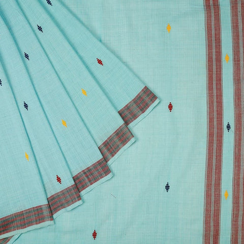 Assam Cotton Saree In Sky Blue
