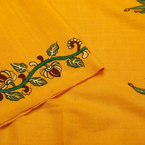Khadi Tussar Hand Painted Yellow Saree