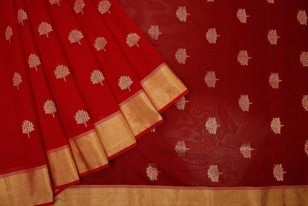 chanderi cotton silk dark red Handloom Saree