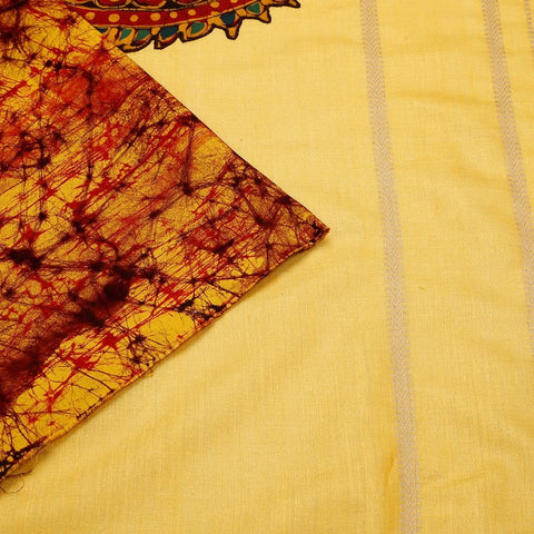 Muga Silk Handpainted Yellow Saree