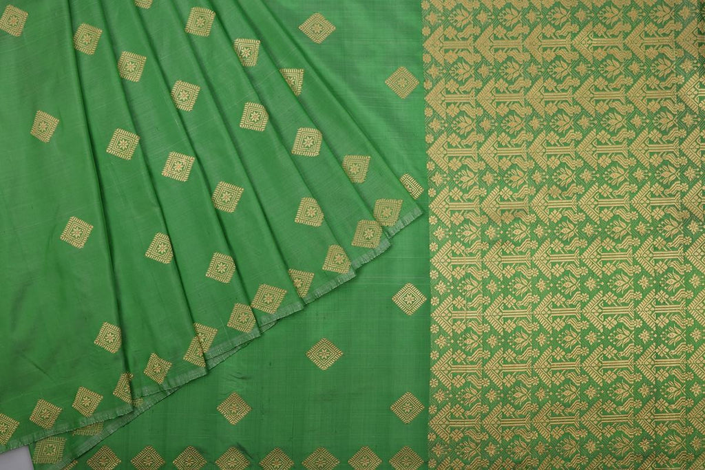 Assam Handwoven Silk  Saree In Green