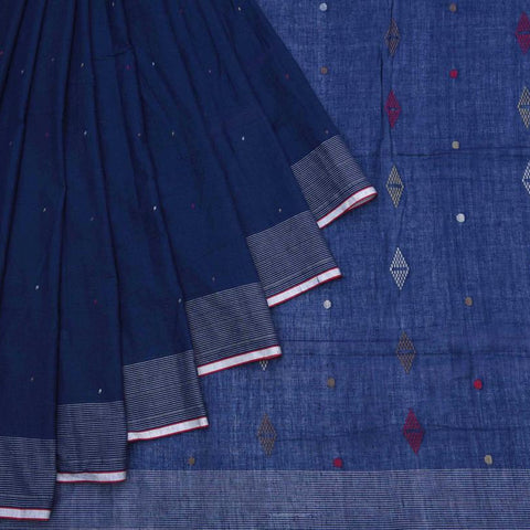 Bengal Khadi Cotton  Indigo Blue Saree With Jamdani Multicolored Dots