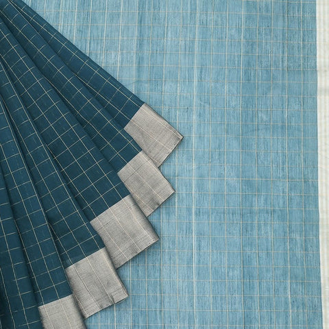 Chanderi Silk Cotton peacock blue saree with checks pattern