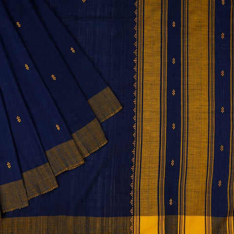 Assam Cotton Saree In Navy Blue