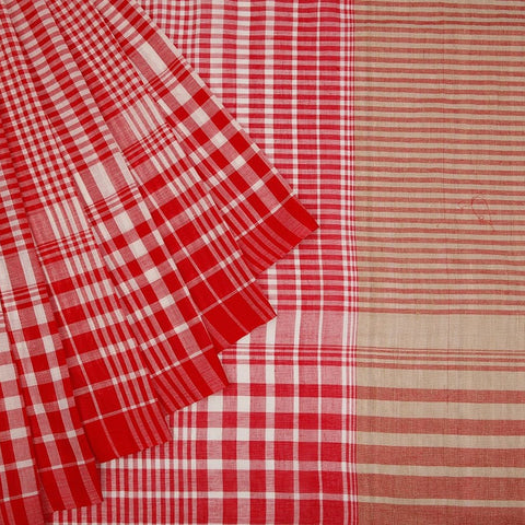Bengal Cotton Saree With Running Pattern Border in Red & White