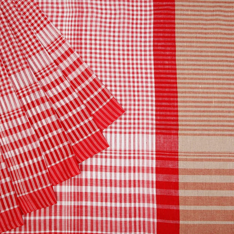 Bengal Cotton Red & White Saree With Running Pattern Border