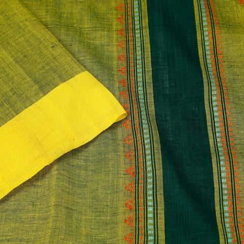Assam Cotton Saree In Mehendi Green