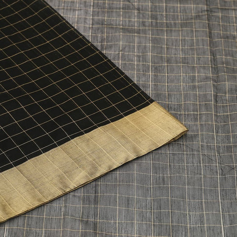 Chanderi Silk Cotton black saree with checks pattern