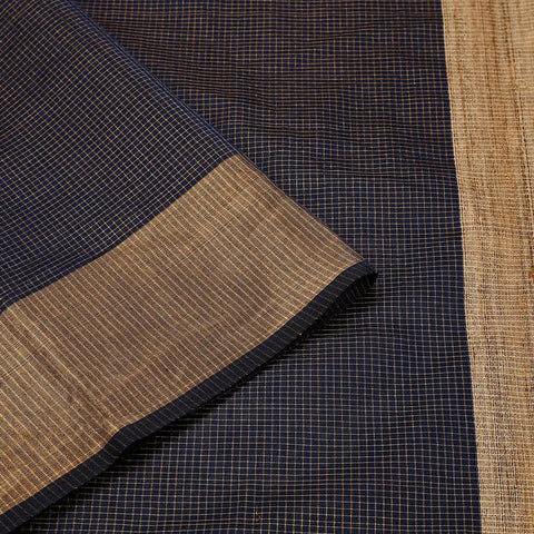 Midnight Blue Handloom Tussar Silk Handwoven Saree With  Border