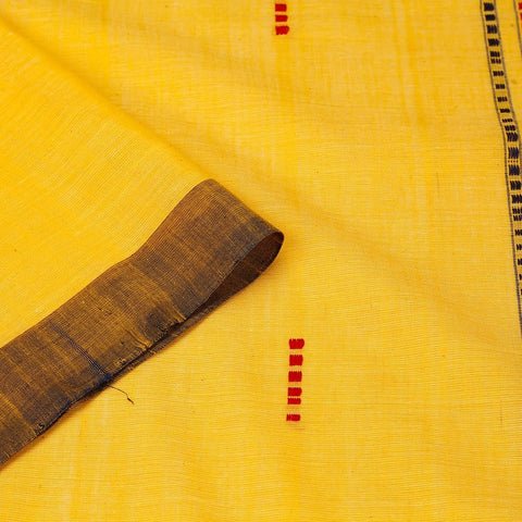 Assam Cotton Saree In Sunflower Yellow