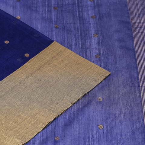 Chanderi Silk Cotton royal blue saree with floral butti pattern