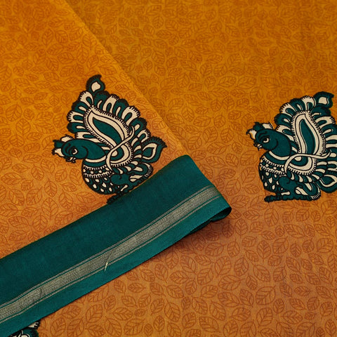 Chanderi Silk Fire Yellow Saree With Annapakshi Pattern