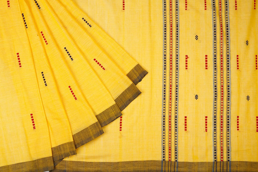 Assam Cotton Saree In Canary Yellow