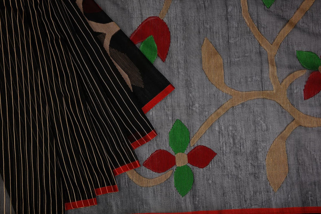 Bengal Cotton Black Saree With Thin Red Border