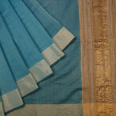 Sky Blue Handloom Tussar Silk Handwoven Saree With  Border