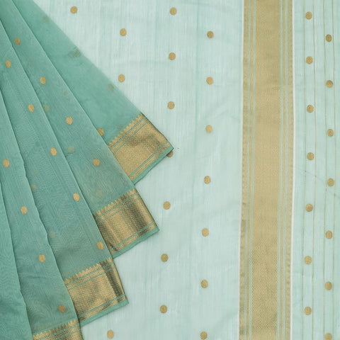 Chanderi Silk Cotton stone blue saree with golden zari butti pattern