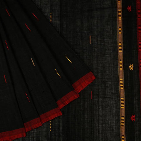 Assam Black Cotton Saree